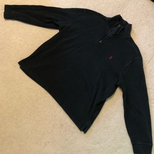 Black Polo Quarter Zip Pullover Sweater